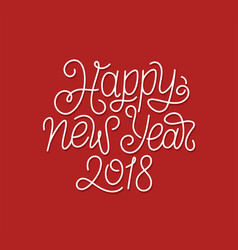 Happy new year 2018 line art typography vector
