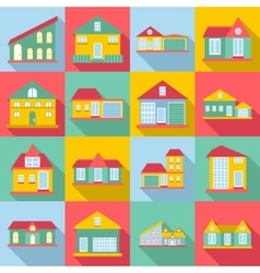 Houses icons set flat style vector