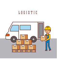 logistic worker loading truck with goods delivery vector image