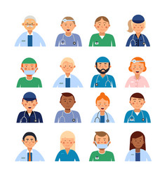 male and female medical characters in different vector image