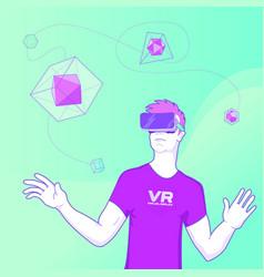 man using virtual reality glasses concept vector image vector image