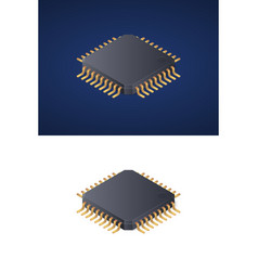 Microchip processor isolated on white and dark vector