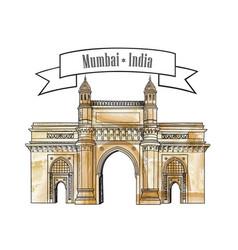Mumbai city gate way icon india famous indian vector