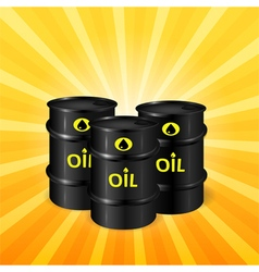 Oil barrels on sunray background vector image vector image