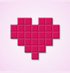 Pink mosaic heart vector image vector image