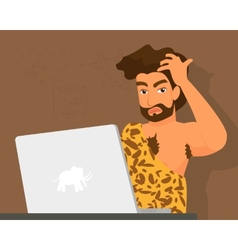 Primitive man has a problem with laptop vector image vector image