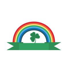 rainbow clover ornament st patricks day vector image