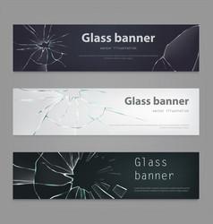 set of of broken glass vector image vector image
