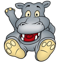 sitting hippo vector image vector image