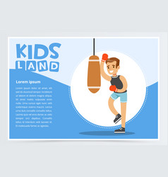 smiling active boy in red boxing gloves hitting vector image