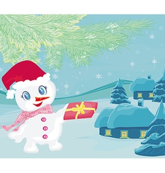 snowman giving gifts vector image