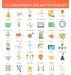 startup and development color flat icon set vector image