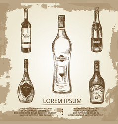 Vintage grunge poster with hand drawn alcohol vector