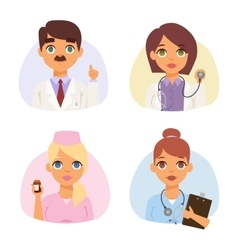Doctors spetialists faces set vector