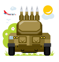 Anti-aircraft missile system flat style vector