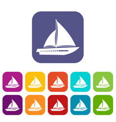 Sailing yacht icons set vector