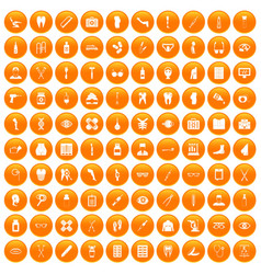 100 pharmacy icons set orange vector