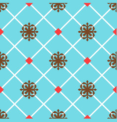 Blue spanish ornamental ceramic tile vector