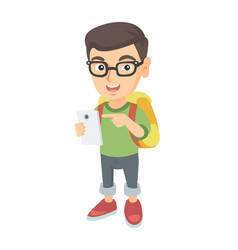 Caucasian boy with backpack pointing at cellphone vector
