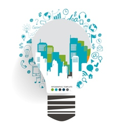 Light bulb with city background and cloud of vector