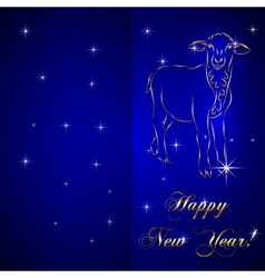 Sketch of sheep symbol new year on blue background vector