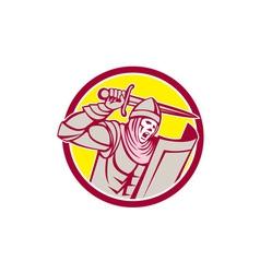 Crusader Knight With Sword and Shield Circle Retro vector image