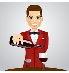 Handsome waiter pouring wine into glass vector
