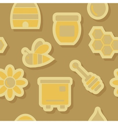 Abstract seamless background with bees and honey vector