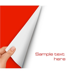 Blank sheet of paper with hand vector