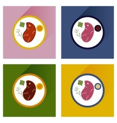 Modern flat icons with shadow steak on plate vector