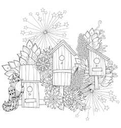 Hand drawn doodle outline spring nesting box vector