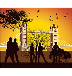 Old british bridge with birds vector