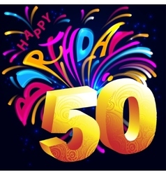 Fireworks happy birthday with a gold number 50 vector