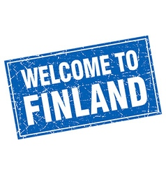 Finland blue square grunge welcome to stamp vector
