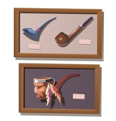 Museum exhibit of smoking pipes in injun style vector