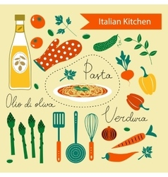 A colorful Italian kitchen set vector image vector image