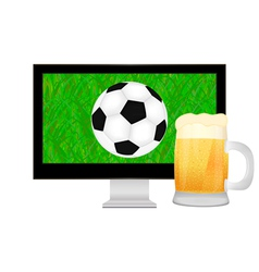 Ball into the tv screen and mug of beer vector