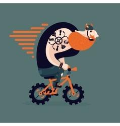 Big ginger biker on a little bike funny man on a vector
