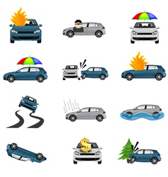 Car Insurance Icons vector image vector image