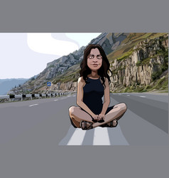 Cartoon funny woman sitting on the roadway vector