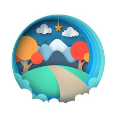 cartoon paper landscape mountain tree cloud vector image vector image