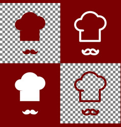 Chef hat and moustache sign bordo and vector
