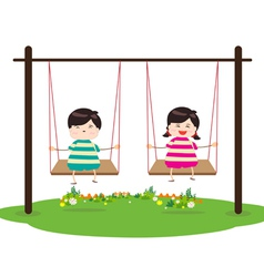Children on Swing vector image