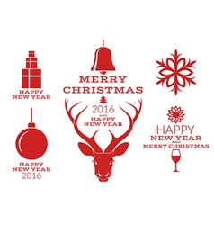 Christmas collection isolated labels vector