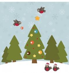 Christmas robins vector image vector image