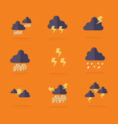 Collection of weather set flat vector