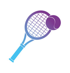 contour racket and ball to play tennis sport vector image