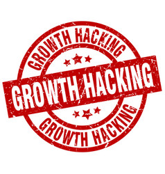 Growth hacking round red grunge stamp vector