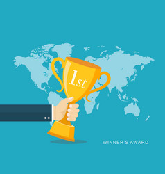 Hand holding winners trophy award flat vector