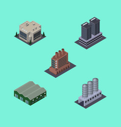 Isometric architecture set of industry company vector